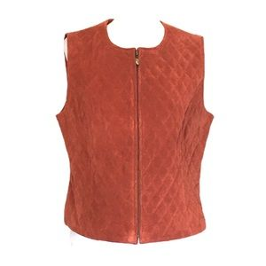 Peck and Peck Quilted Suede Zip Front Vest L